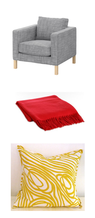 ikea chairs cashmere red throw and yellow swirl pillow